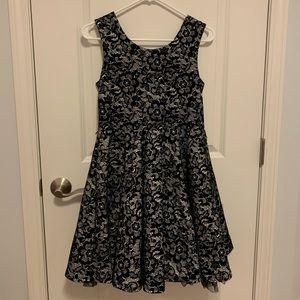 Black floral lace dress